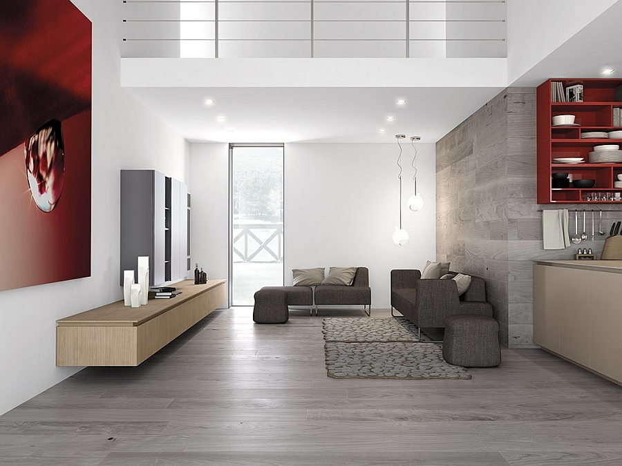 A perfect living room and kitchen idea for an open floor plan