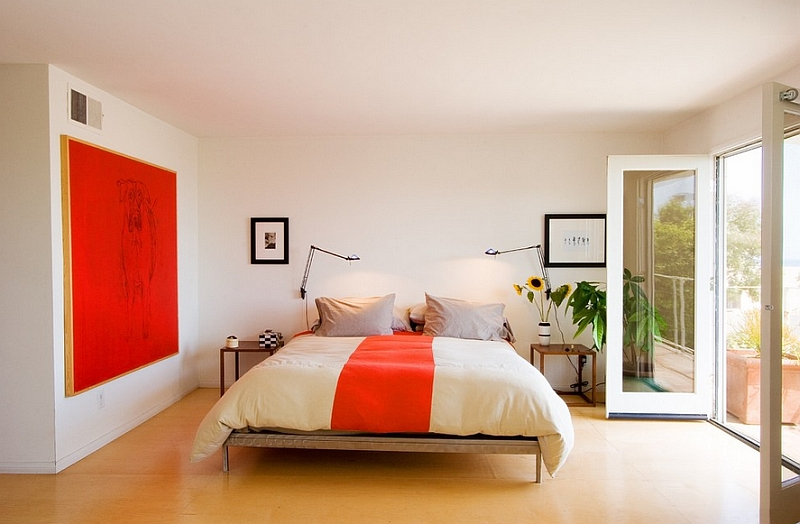A splash of orange in the bedroom