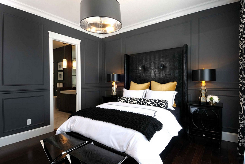 Accents in golden hue lend sophistication to this chic bedroom Bold Black And White Bedrooms With Bright Pops of Color