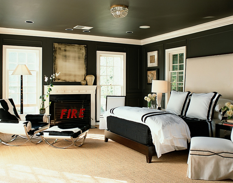 Bold black and white bedrooms with bright pops of color for Decoration chambre karate