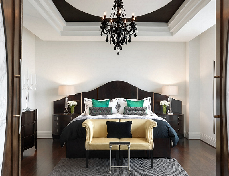 Add drama to the bedroom with a black and white color scheme