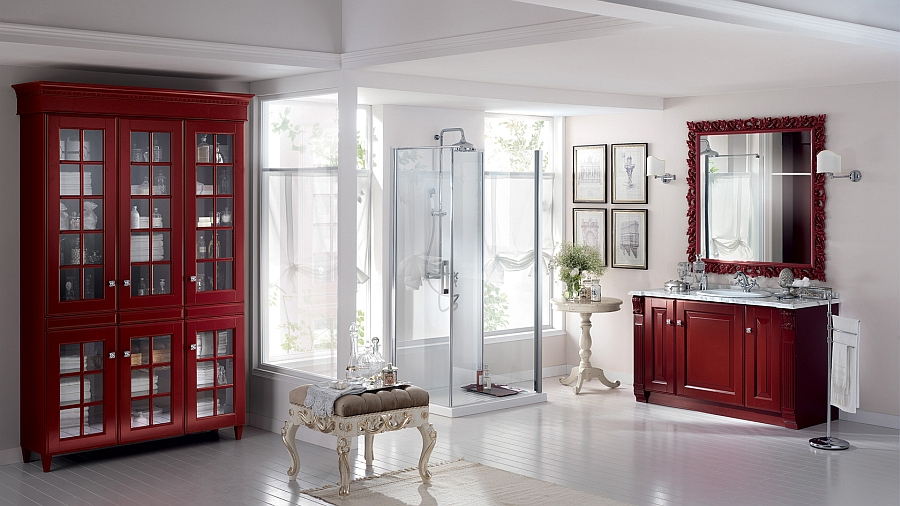 Add some fiery reds to your bathroom