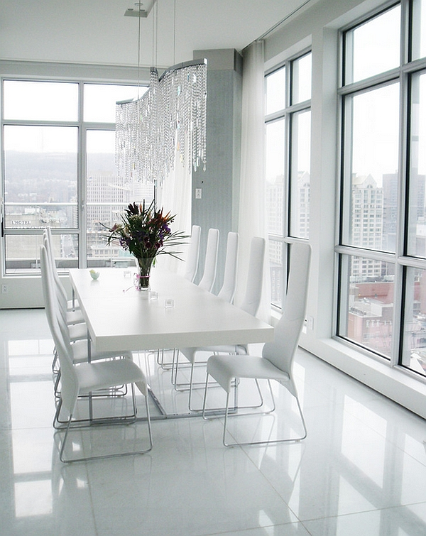 All-white minimal dining room sizzles with glam