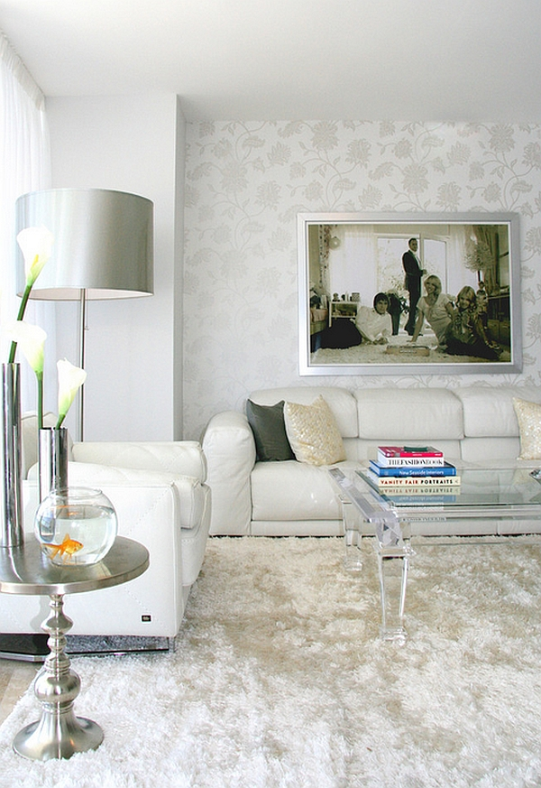 An engaging and vibrant way to use white in the living room