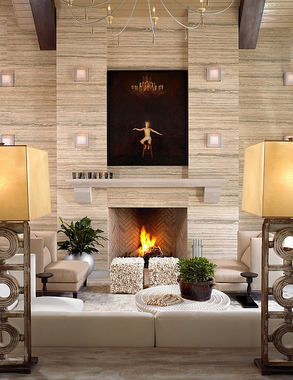 Another fireplace that brings home the herringbone pattern