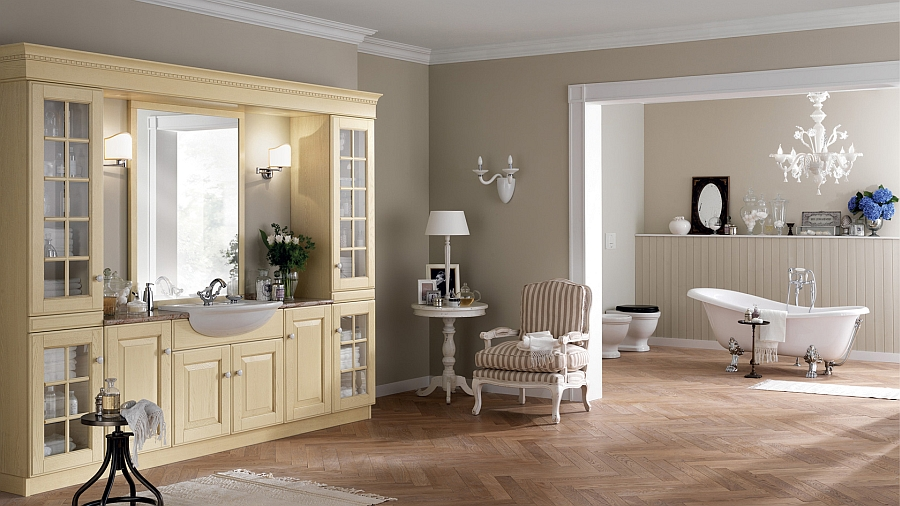 view in gallery antique cream oak vanity with semiinset washbasin