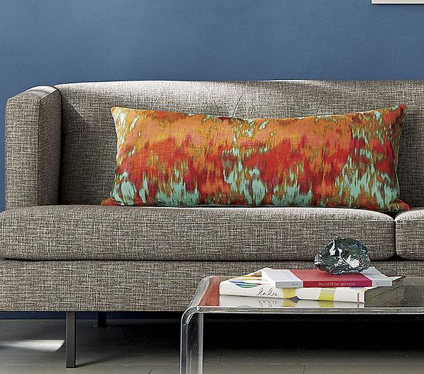 Aqua and coral tropical pillow