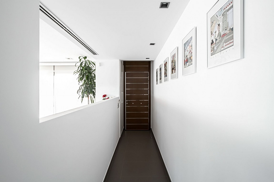 Art gallery style narrow entryway of the house