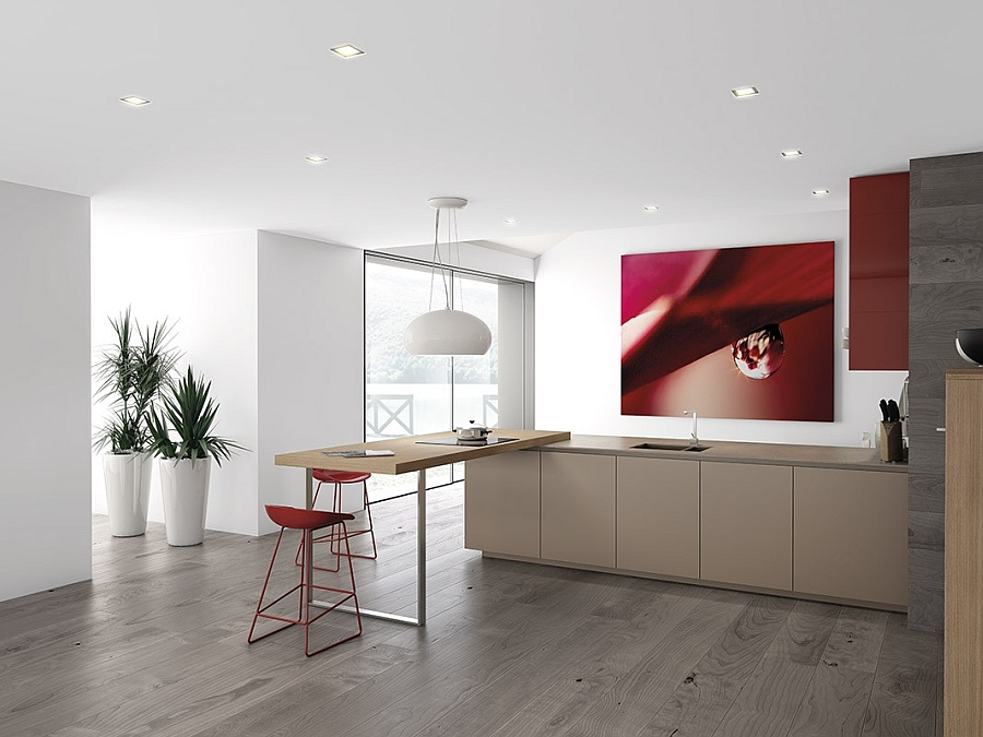 Art work adds to the accent color of the kitchen
