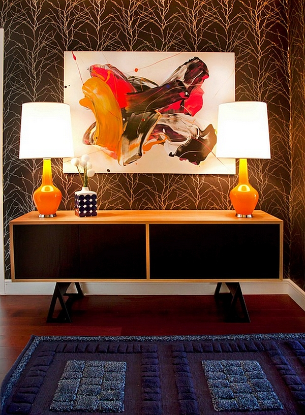 Artsy entryway idea filled with plenty of color Trendy Table Lamps That Borrow From An Era Gone By!