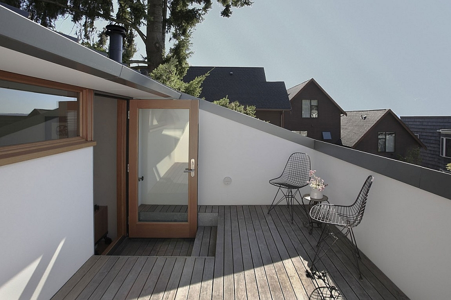 Attic deck space with wire chairs