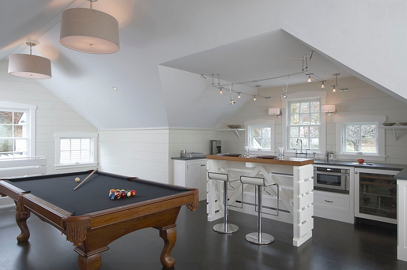 Attic game room with custom designed bar