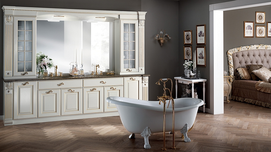 Bathroom with white matt lacquered finish and gold decoration