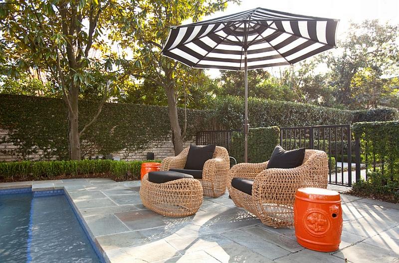 Beautiful garden stools in bright orange