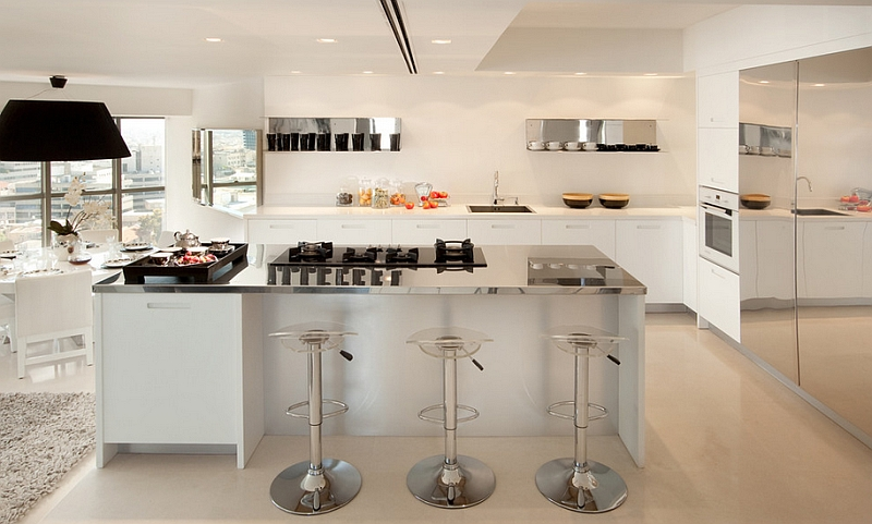 Beautiful kitchen with plenty of reflective surfaces