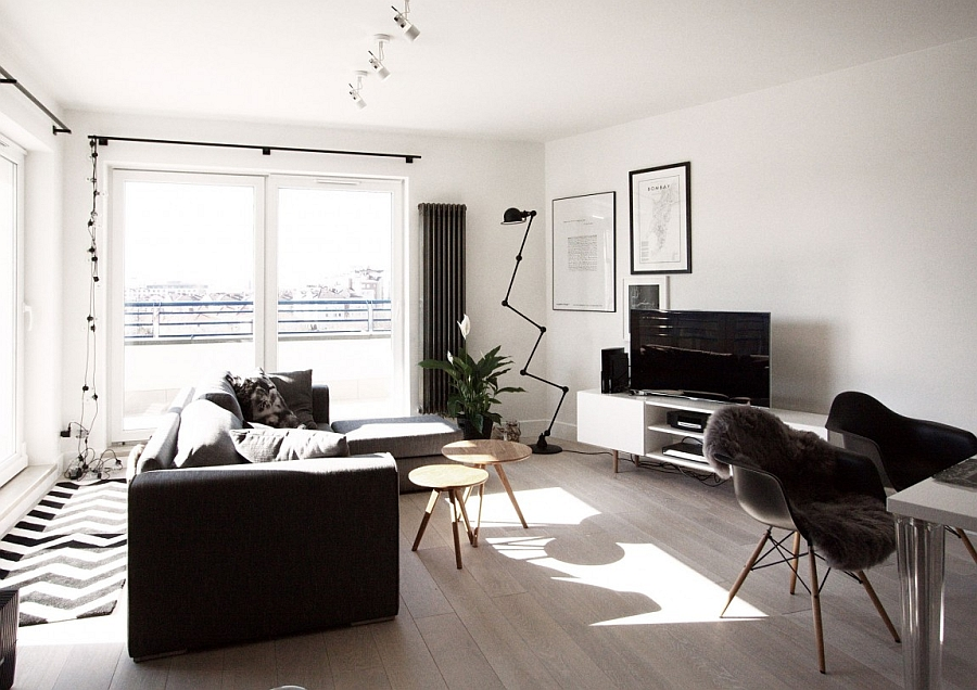 scandinavian home decor mixed with a minimalist use of wood in warsaw. Black Bedroom Furniture Sets. Home Design Ideas
