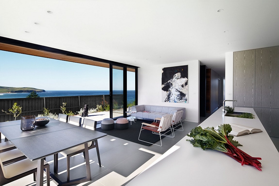 Beautiful ocean views from the kitchen and dining area