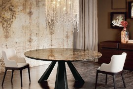Beautiful round dining table with a unique base
