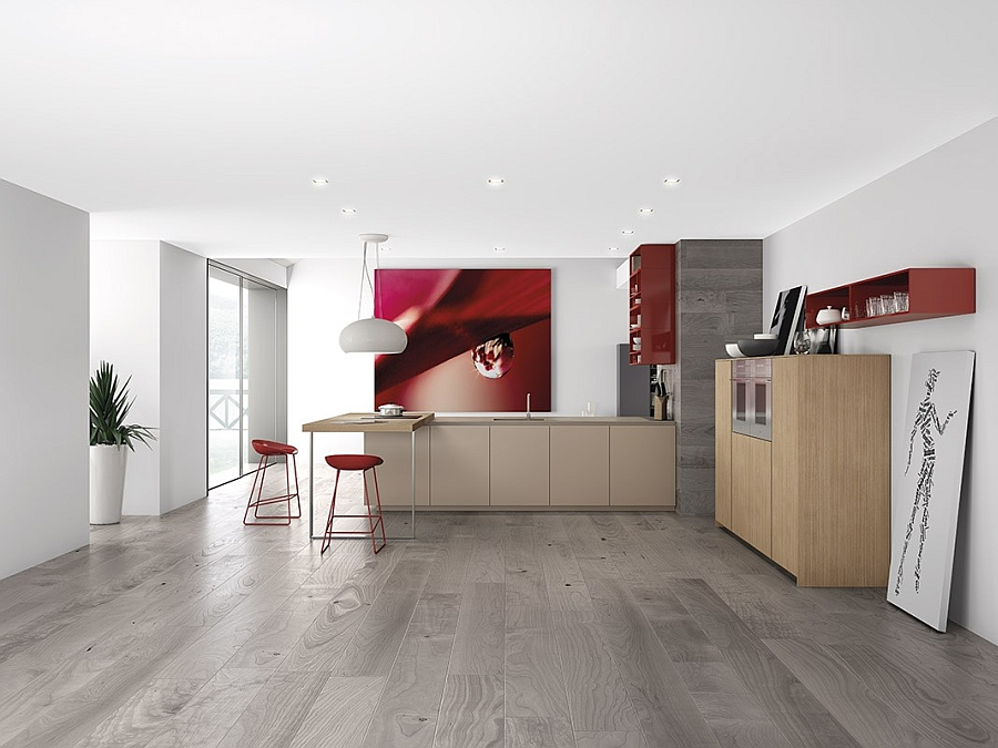 Beautiful wooden kitchen cabinets coupled with open red shelves Dynamic Minimalist Kitchen Sizzles With Flaming Red Accents