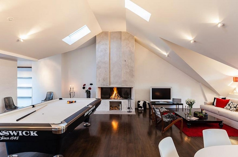 Beautifully lit Attic Game Room