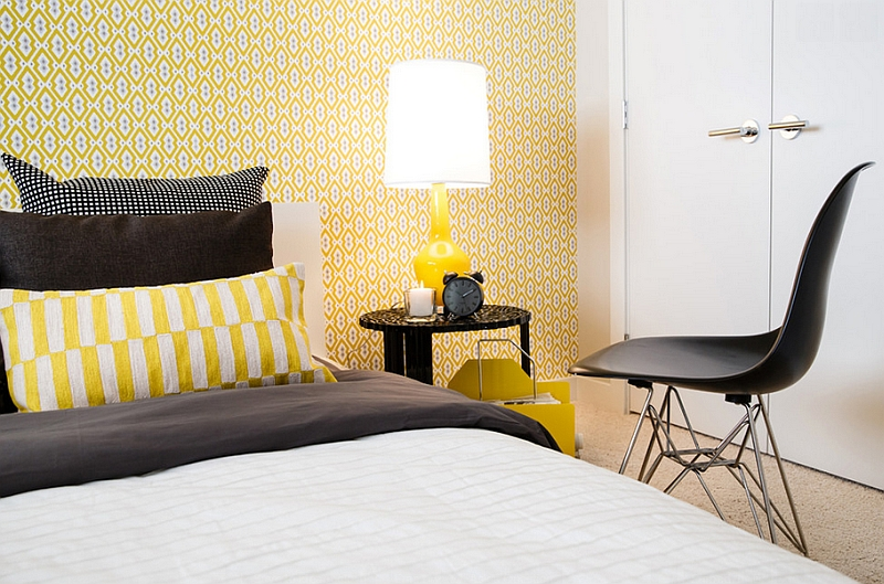 Bedroom in black, white and yellow with lovely accent lamp