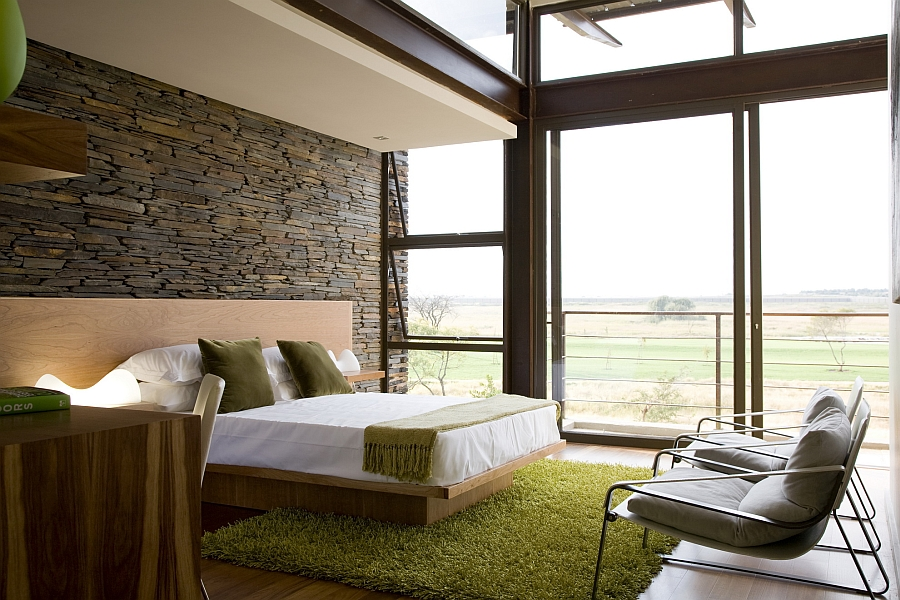 Bedroom with lovely views and green accents