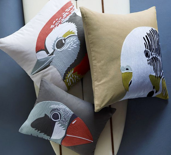 Bird-themed pillows from West Elm