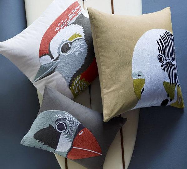 Bird-themed pillows from West Elm