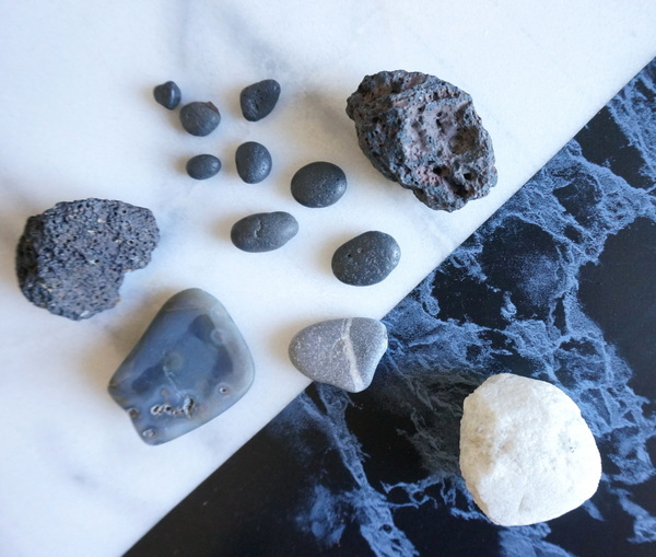 Black and white stones