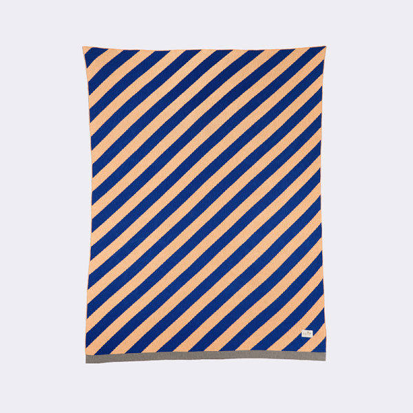 Blue and peach striped blanket