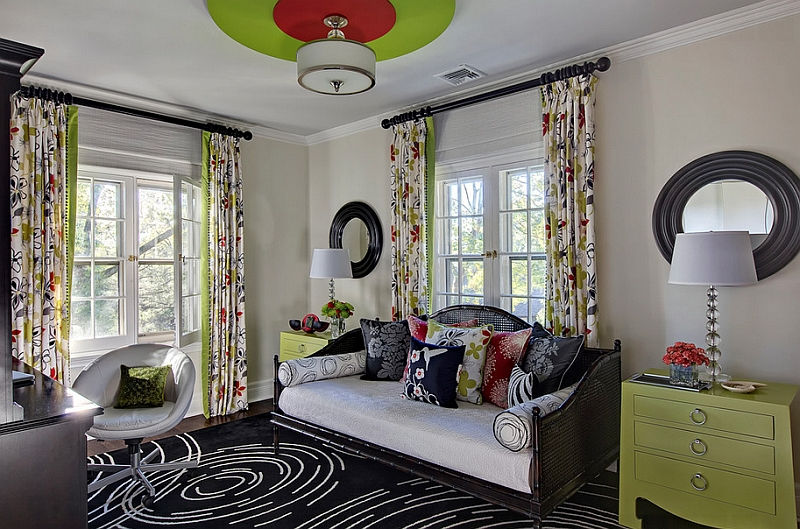 Bold colors used in the contemporary bedroom