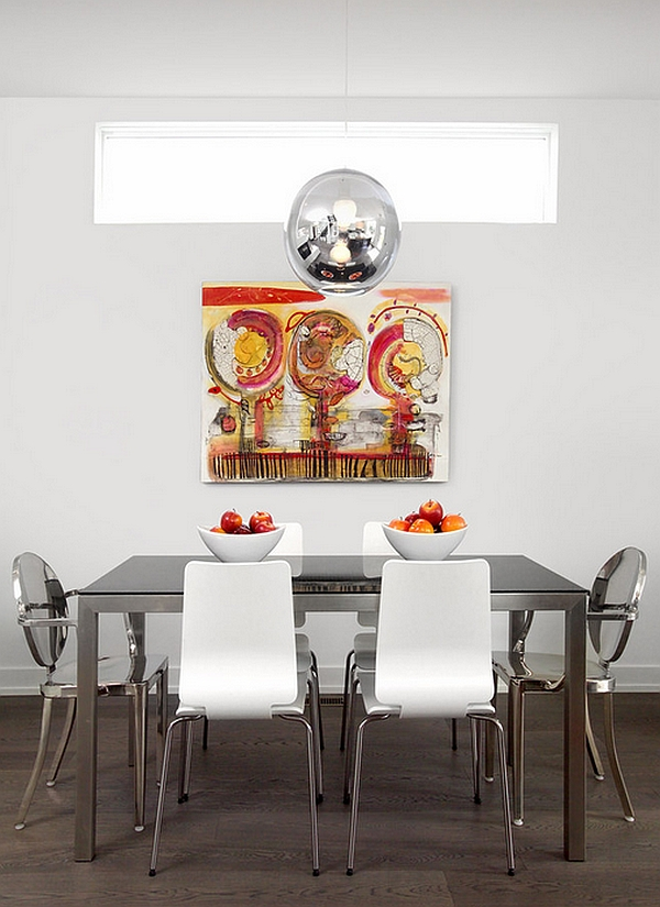 View In Gallery Bright Metallic Accents The Minimalist Dining Room