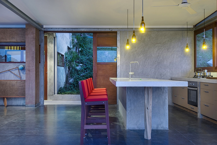 Bright pendants in the small kitchen