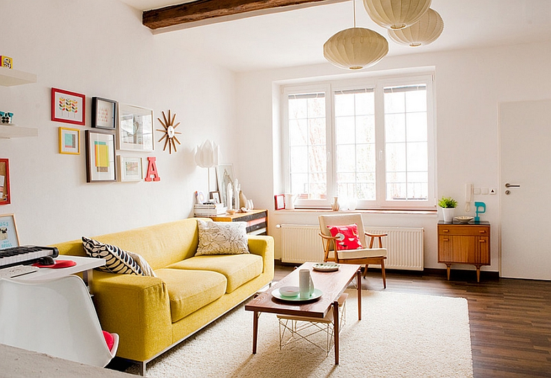 Bright pops of color for small living room