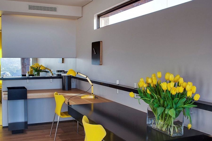 Bright pops of yellow in the home office