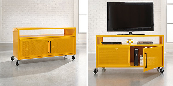 Bright yellow media console