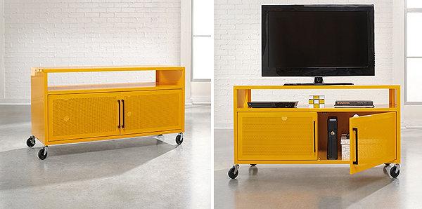 Bright yellow media console