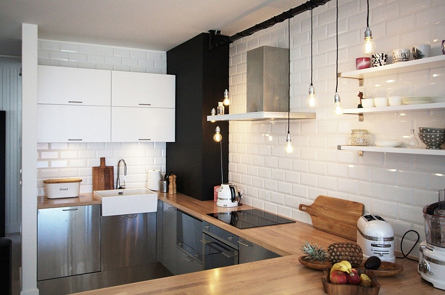 Scandinavian home decor mixed with a minimalist use of wood in warsaw view in gallery bulbs used to provide focussed lighting in the kitchen aloadofball