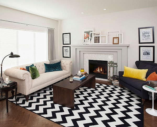 chevron pattern ideas for living rooms: rugs, drapes and accent