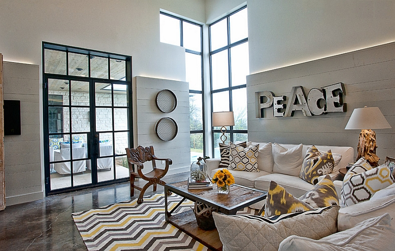 yellow and gray living room. View in gallery Chevron accents yellow  grey and black Pattern Ideas For Living Rooms Rugs Drapes Accent