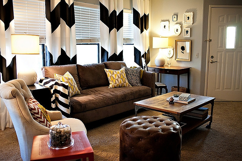 Chevron curtains for the eclectic living room