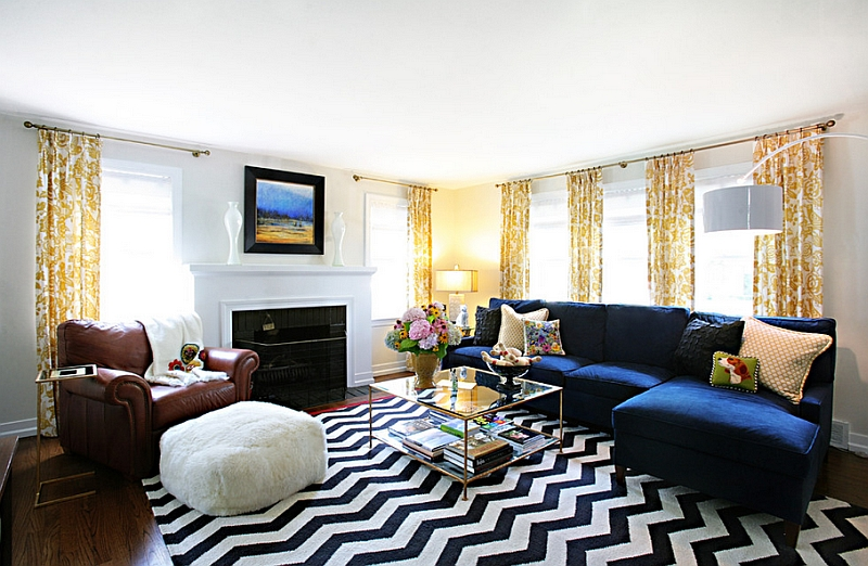 Chevron pattern rug in black and white ushers in glamour and sophistication