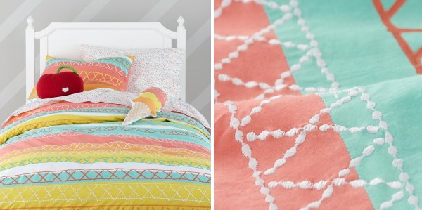 Children's bedding featuring mint and salmon