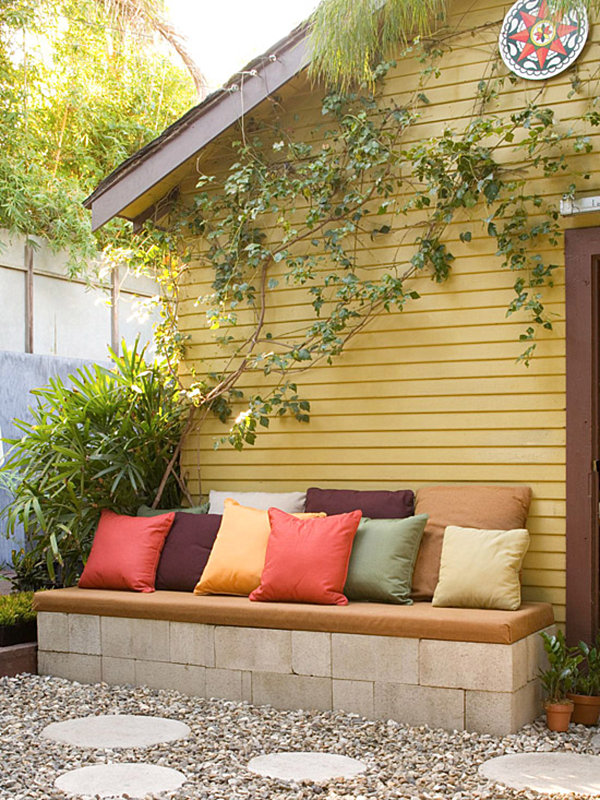 Cinder block bench with pillows