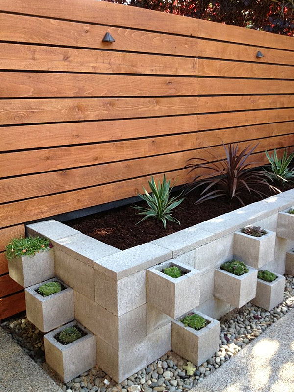 Cinder Block Flowerbed Decoist