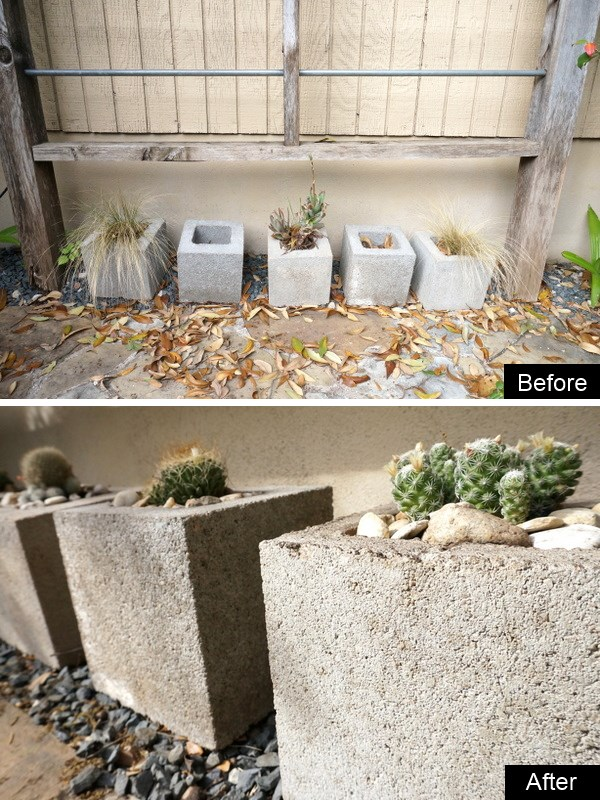 Cinder block planters are refreshed