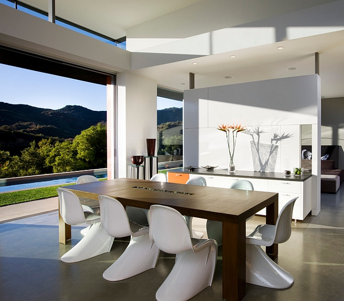 View in gallery classic panton chairs and the view outside lend elegance to the dining room