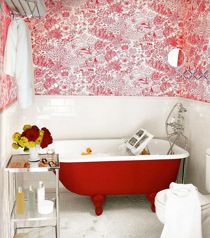 Claw foot Bathtub in Bright Red brings together the modern and the vintage Beyond White: Colorful Bathtub Ideas For A Trendy Bathroom