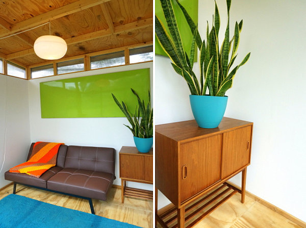 Clean-lined furniture and bright colors set a modern tone