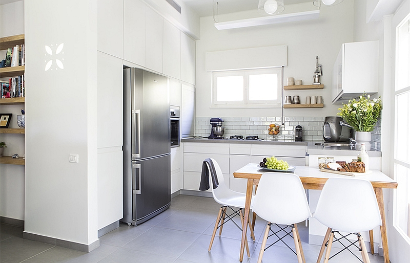 Closer look at the kitchen in white